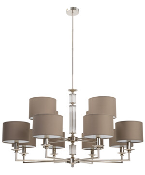 Double tier chandelier 12 arms ART in nickel and fabric shades with glass