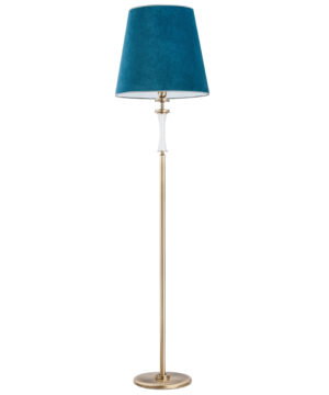 Luxury floor lamp AVERNO in patina with blue shade and Swarovski crystals
