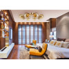 inspiration of Low ceiling pendant 8 lights BACA in gold with amber glass shades