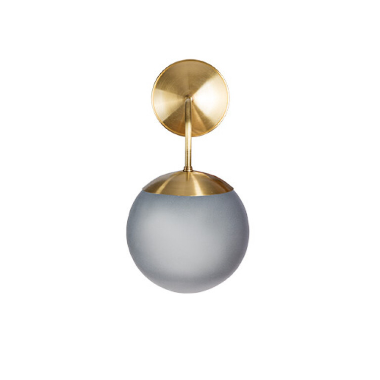 Hand blown glass wall source lighting fixture BACA in gold with grey shade