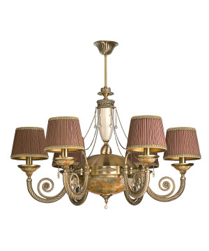 Antique brass chandelier 6arms BIBIONE II in patina with Swarovski crystals