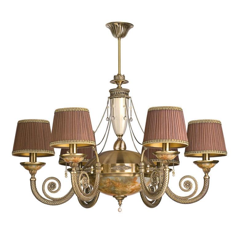 Antique brass chandelier 6arms BIBIONE II in patina with Swarovski crystals