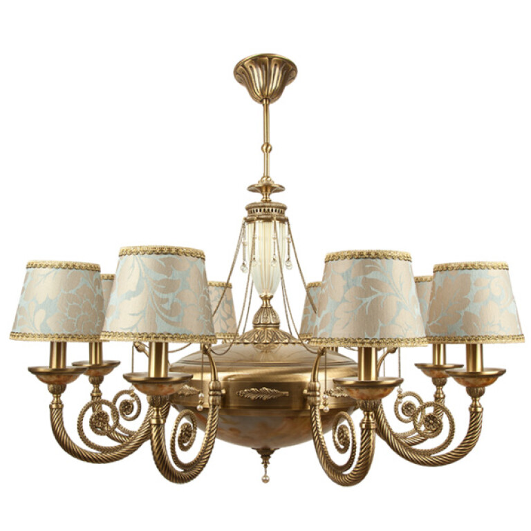 Large gold chandelier BIBIONE II in antique style with fabric shades and pearls