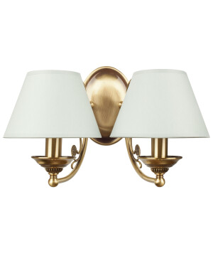 Bespoke lighting CASAMIA double wall lights in brushed brass, white shades