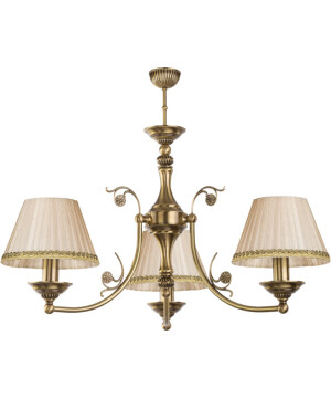 Stylish handmade chandelier 3 Arms CASAMIA in patina with fabric shades