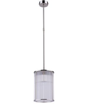 Glass single pendant light CERO in nickel with ribbed glass shade