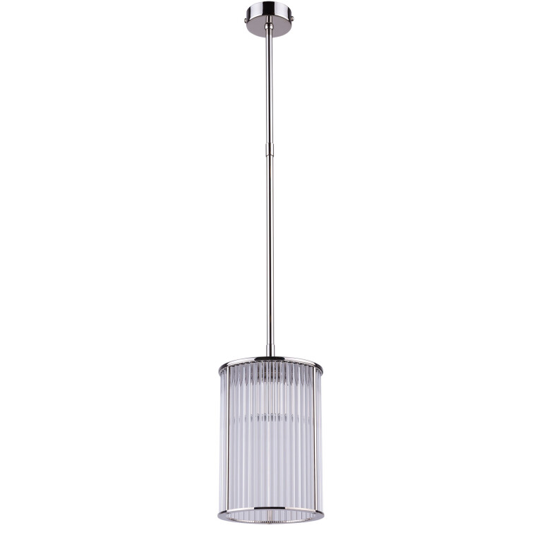 Lighting room CERO glass pendant light in nickel with ribbed glass shade