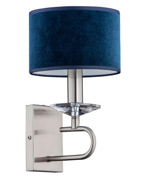 Contemporary candle wall light KADALIA in nickel with blue shade