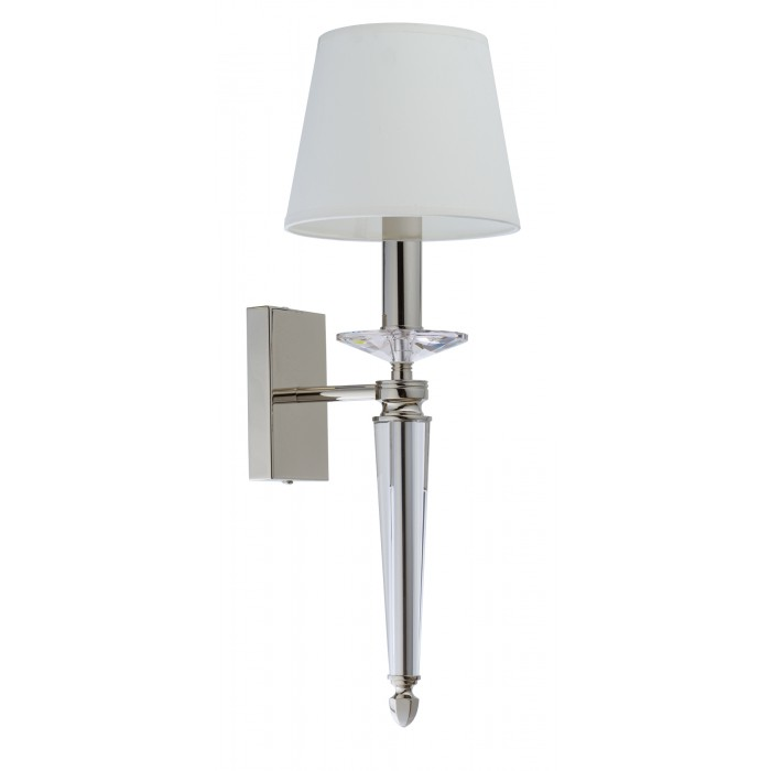 DALILA Contemporary wall light in nickel with clear glass shade