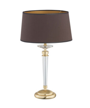 Gold End table lamp KADALIA with glass and fabric shade