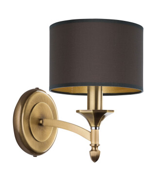 Classic wall lights DECOR in brushed brass with brown lamp shade