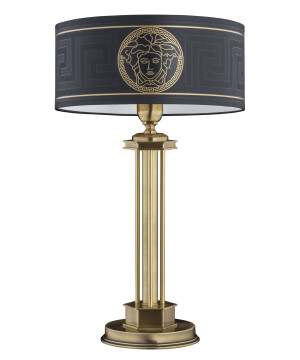 Art DECOR table lamps in brushed brass with Versace black shade