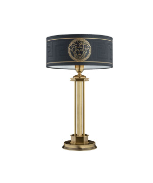 Classic luxury table lamp DECOR in old gold with Versace black shade
