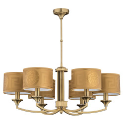 Versace chandelier DECOR 6 light brushed brass with gold shades