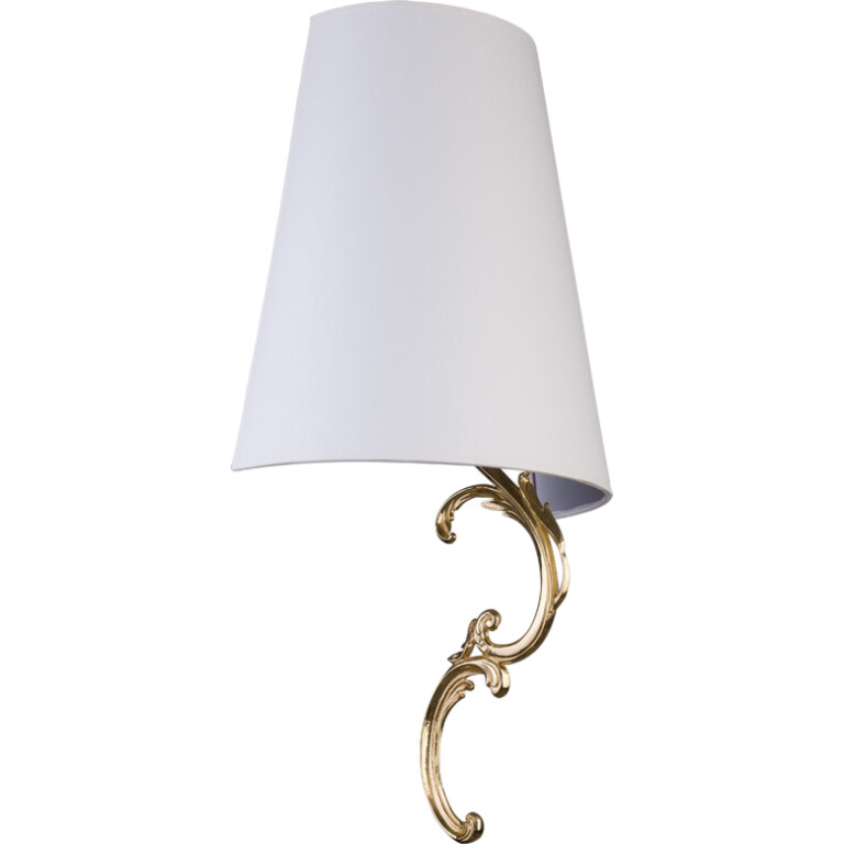 Designer wall light FLOR in gold finishes and white shade