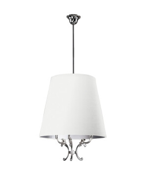 Designer ceiling pendant 3 lights FLOR in nickel finishes and white shade