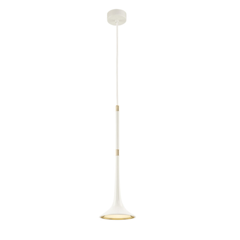 Contemporary single Ceiling Pendant Light LOFT in white and gold finishes