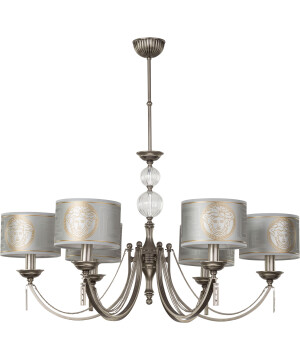 Versace chandelier ZAFFIRO 6 light brass, silver shades