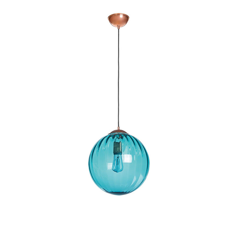single ceiling pendant light ARA in copper with ribbed blue glass shade