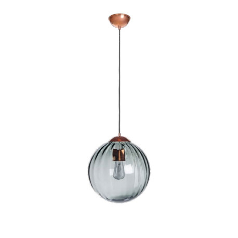 single ceiling pendant light ARA in satin copper with ribbed glass shade full