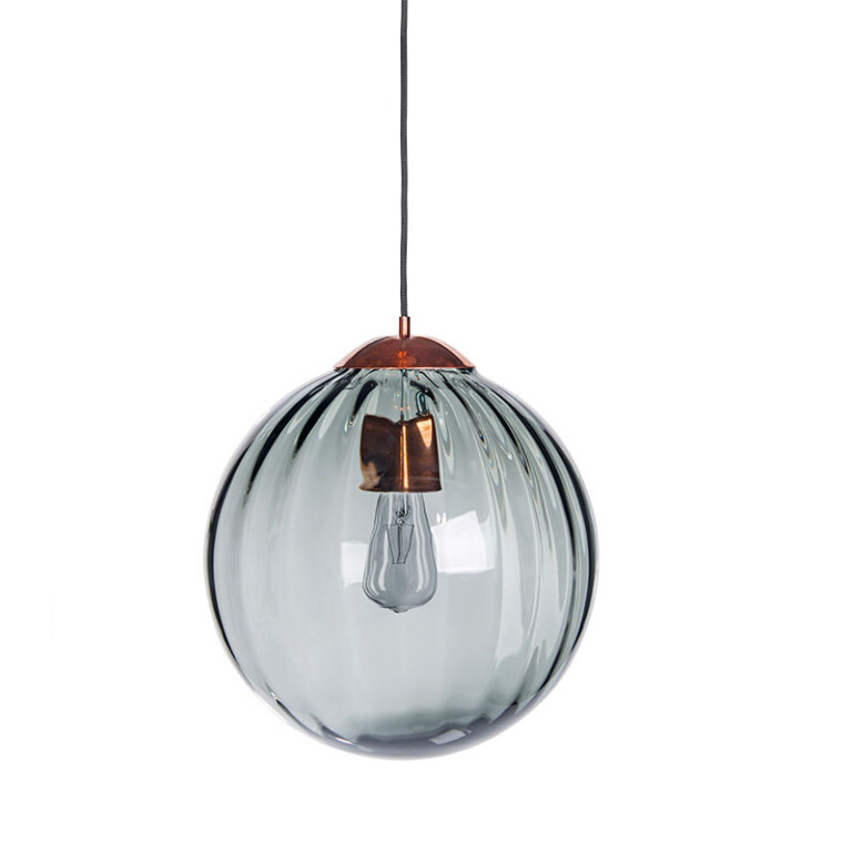 single ceiling pendant light ARA in satin copper with ribbed glass shade