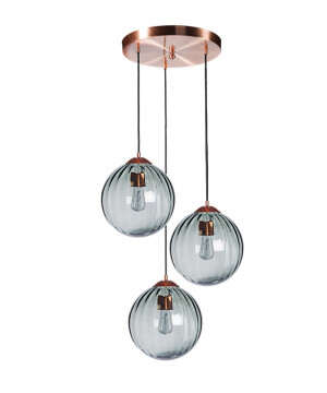 Cluster ceiling pendant 3 lights ARA in satin copper with ribbed glass shades