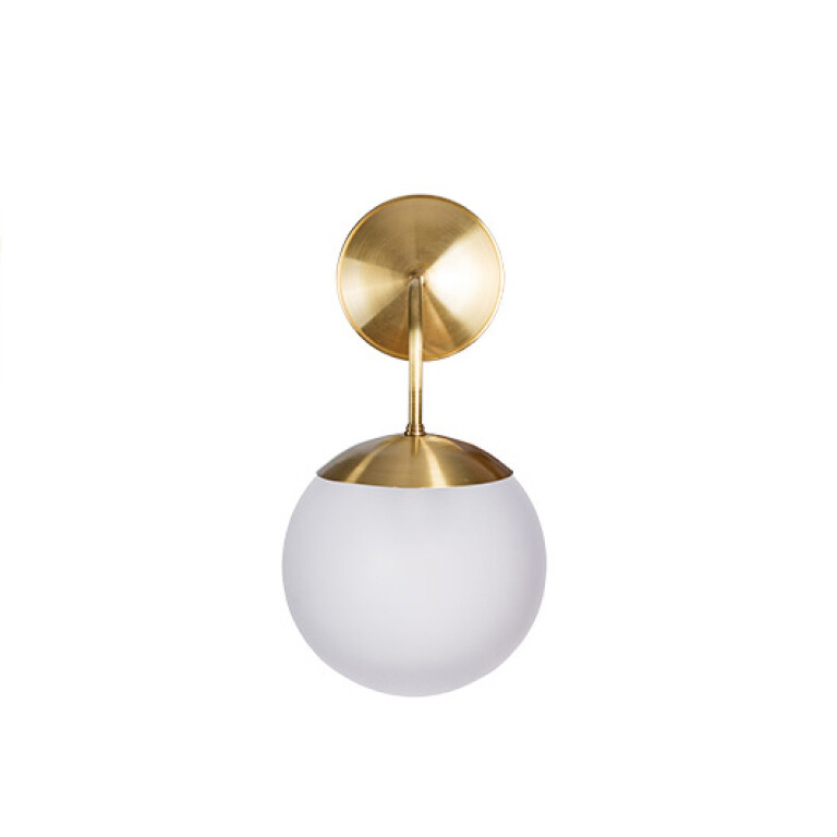 Hand blown glass wall light BACA in gold with white shade