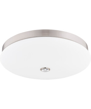 Modern ceiling flush light BELLAGIO in nickel with glass shade and Swarovski crystals