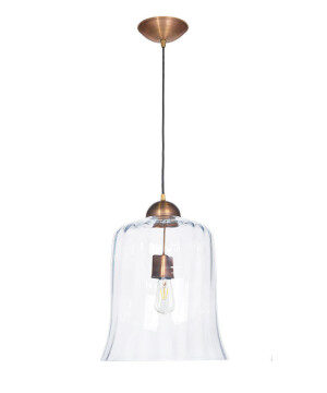 Designer single pendant light RAMAS with glass shade