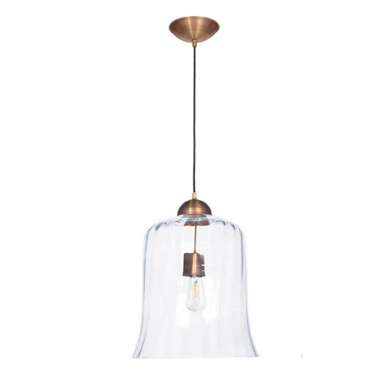 Designer single pendant light RAMAS with glass shade