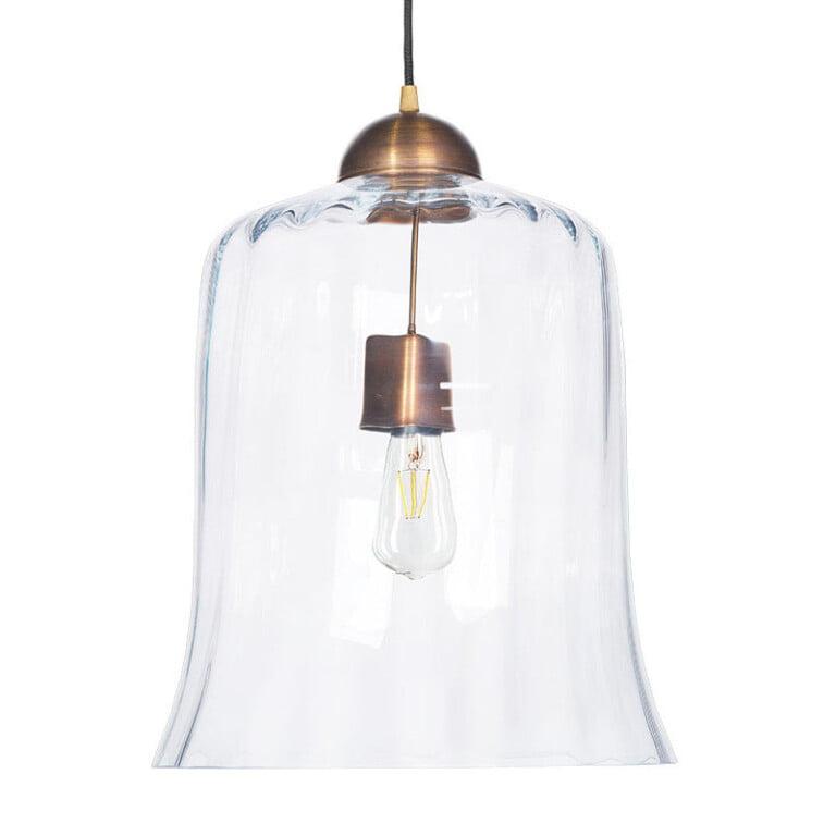 Details of Designer single pendant light RAMAS with glass shade