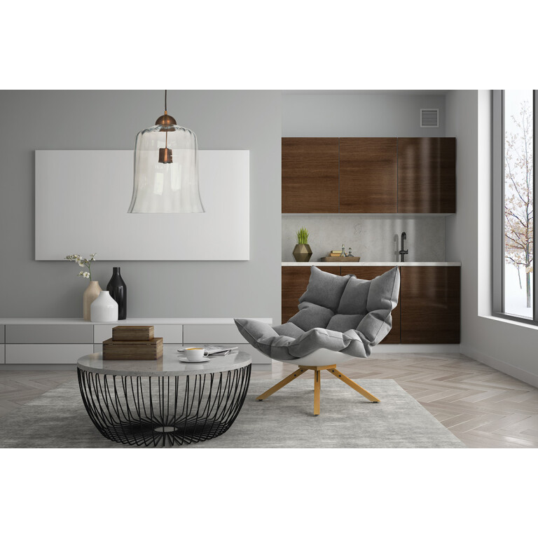 Living room inspiration of Designer single pendant light RAMAS with glass shade