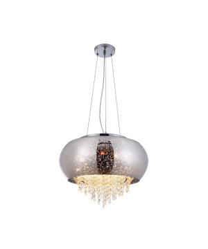 Polished chrome and glass shaped DANIELA LED ceiling pendant 4 lights with crystal droplets