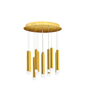 Cluster ceiling pendant LED 12 Lights STAR in gold finishes with black cable