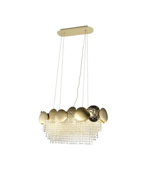 Luxury gold ceiling pedant light GLAMOUR with crystals