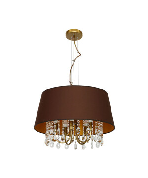 Chandelier 5 arms LUX with crystals and fabric shade