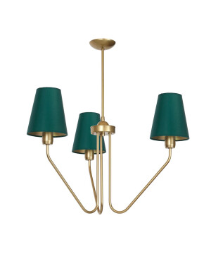 Victorian gold chandelier 3 arms VICA with green shades