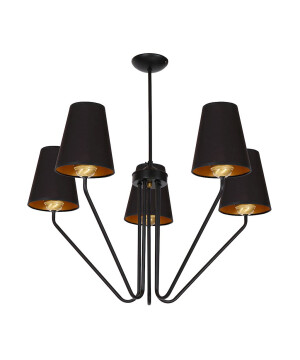 Victorian chandelier 5 arms VICA in black with fabric shades