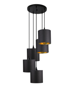 draw of the Cluster ceiling pendant 5 lights QUEEN in black with shades - adjustable