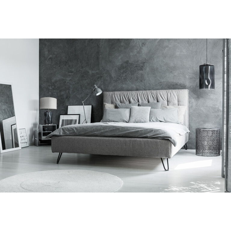 modern bedroom with Handmade single ceiling pendant light CITY in chrome with glass shade