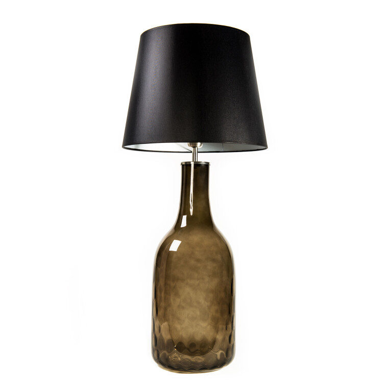 Glass Table Lamp LORD with black silver fabric shade