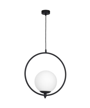 Modern single ceiling pendant light MOON in black finishes with glass shade