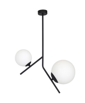 Modern ceiling pendant light MOON in black finishes with glass shades
