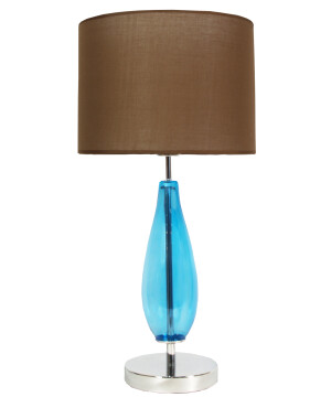 Table Lamp SLIM with smoked glass base and black fabric shade