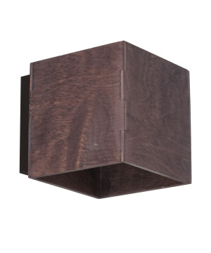 Minimalistic wall light BITTER in taupe finishes with wooden shade