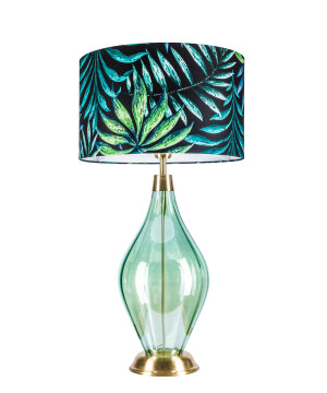 Modern hand blown end table glass lamp LONDON with fabric shade