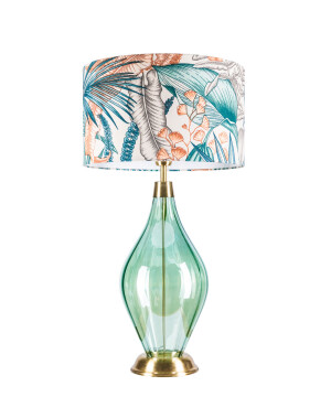 Modern end table glass lamp LONDON with fabric shade