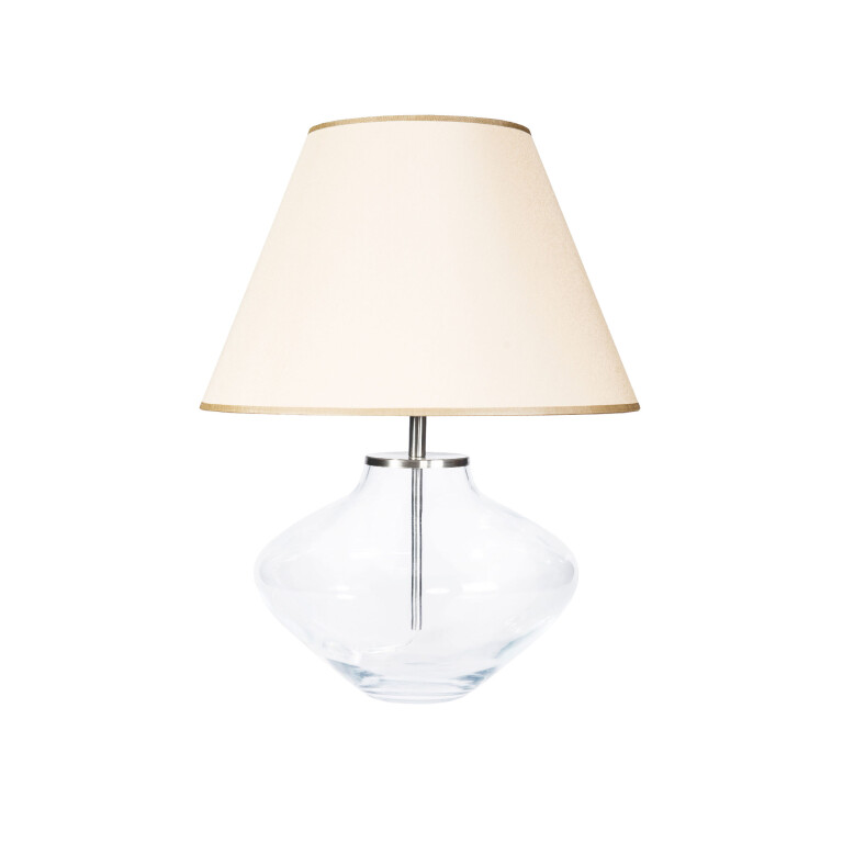 End Table Lamp BERTA glass base with beige shade