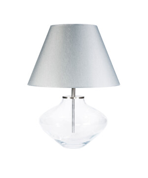End Table Lamp BERTA glass base with grey shade
