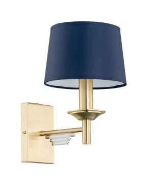 Gold wall light FELLINO with Swarovski crystals in gold & blue shade